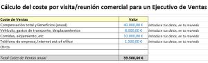 Plantilla Excel coste visitas venta